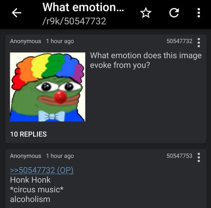 What emotion does this image evoke from you pepe the clown meme