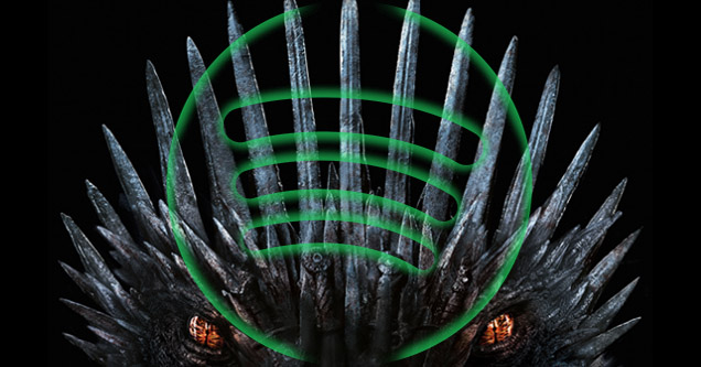 Game of Thrones Season 8 poster with the iron throne and dragon with the spotify logo overlayed.