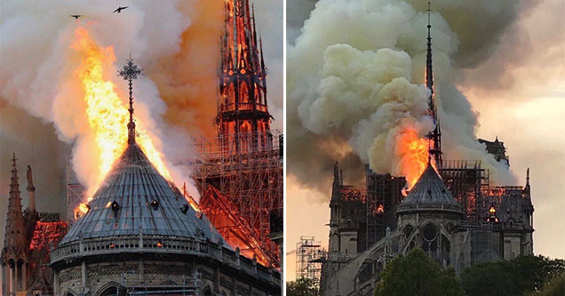 The Notre Dame Catherdral in Paris up in flames on April 15, 2019