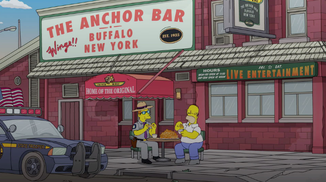 Homer Simpson eating at The Anchor Bar in Buffalo New York during a recent episode.