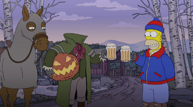 Homer Simpson having a beer with the headless horseman in a recent episode of The Simpsons