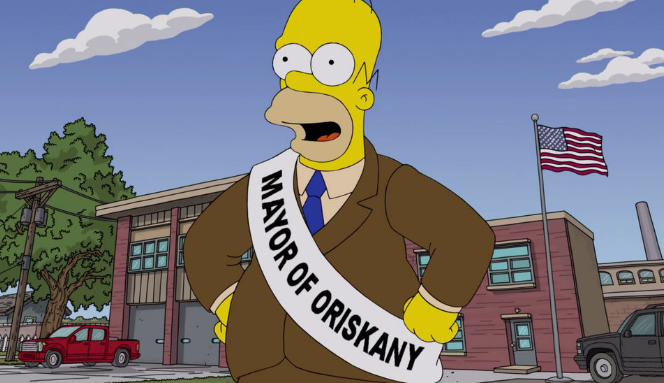 Homer Simpson as the Mayor of Oriskany during the episode D'oh Canada.