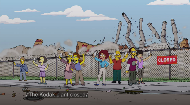 The Kodak plant crumbles to the ground during the Simpson's episode D'oh Canada.