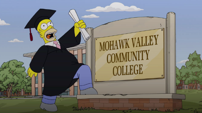 Homer Simpson graduates from Mohawk Valley Community College during an episode of the Simpsons.