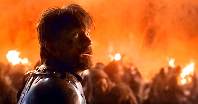 Jamie Lannister at the Battle for Winterfell in Season 8 Episode 3 The Long Night