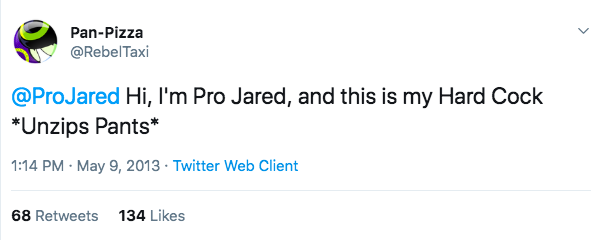 ProJared tweet about his hard cock