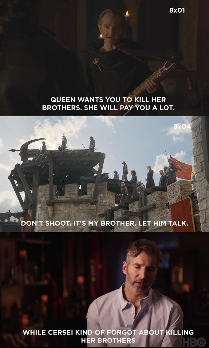 Dany kind of forgot about the iron fleet - cersei kind of forgot about killing her brothers meme