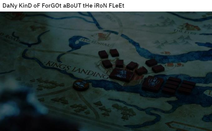 Dany kind of forgot about the iron fleet spongebob mocking meme