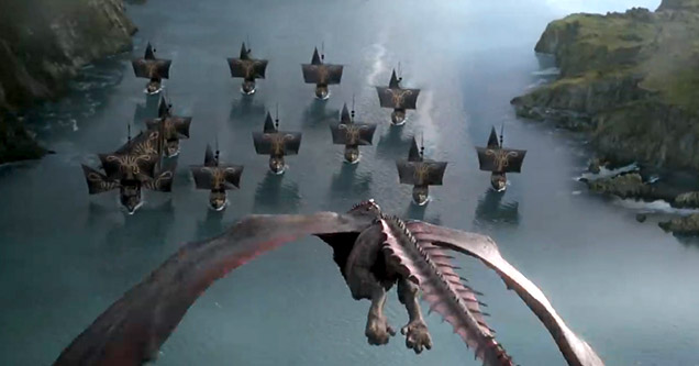 Dany flying rhaegal towards the iron fleet in a scene from game of thrones season 8 episode 4.
