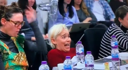Emilia Clarke reacts during the final table read for Game of Thrones Season 8.