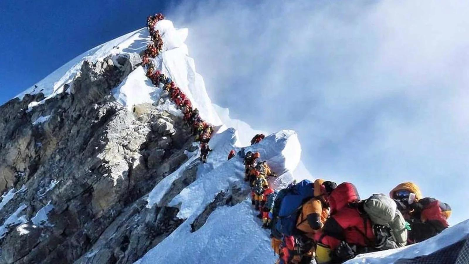 a line of 300 hikers waiting their turn to reach the top of Mt. Everest
