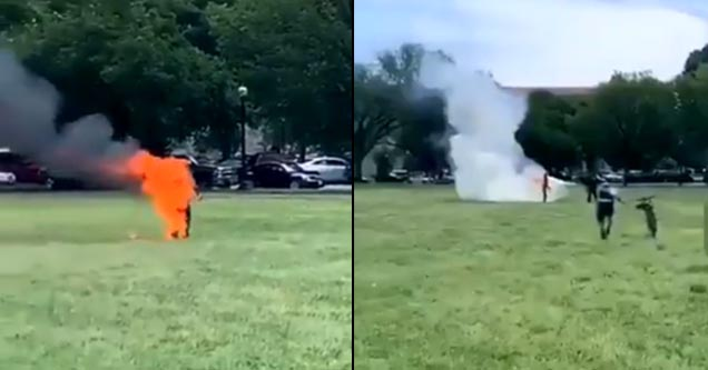 Video still of a man who set himself on fire outside of the white house.