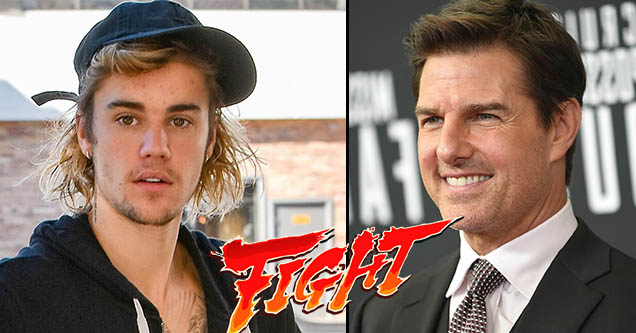 Justin Bieber challenged Tom Cruise to a fight.