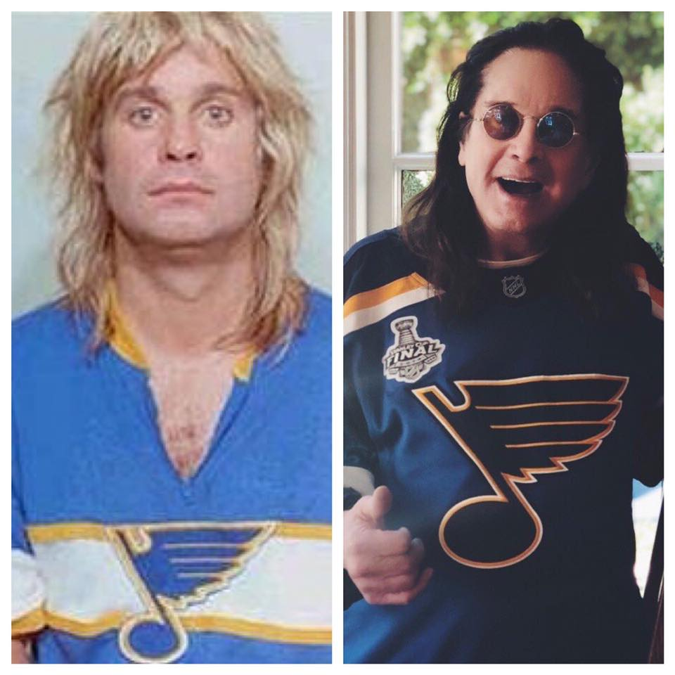 Ozzie Osbourne tweeted out his mug shot where he wore a st. louis blues jersey before the final game