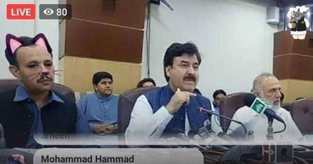 Pakistani regional Minister wearing a cat face filter by mistake
