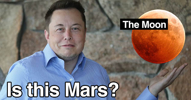 Elon Musk holding up a photo of the blood moon - He tweeted out a picture of the moon instead of Mars.