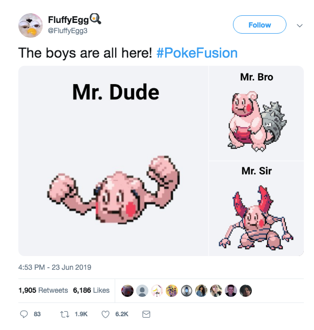 Pokefusion Pokemon memes - the boys are all here - mr. dude mr. bro and mr. sir - FluffyEgg Twitter