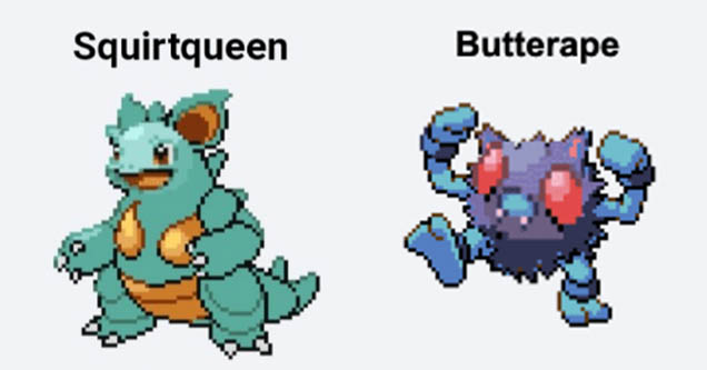 Squirtqueen and Butterape Pokémon Fusion memes on Twitter.