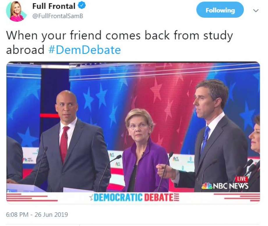 A meme posted by Samantha Bee Full Frontal - When your friend comes back from study abroad