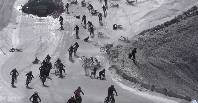 Bikes participating in the Mountain of Hell 2019 race in France crash and cause a massive pileup.