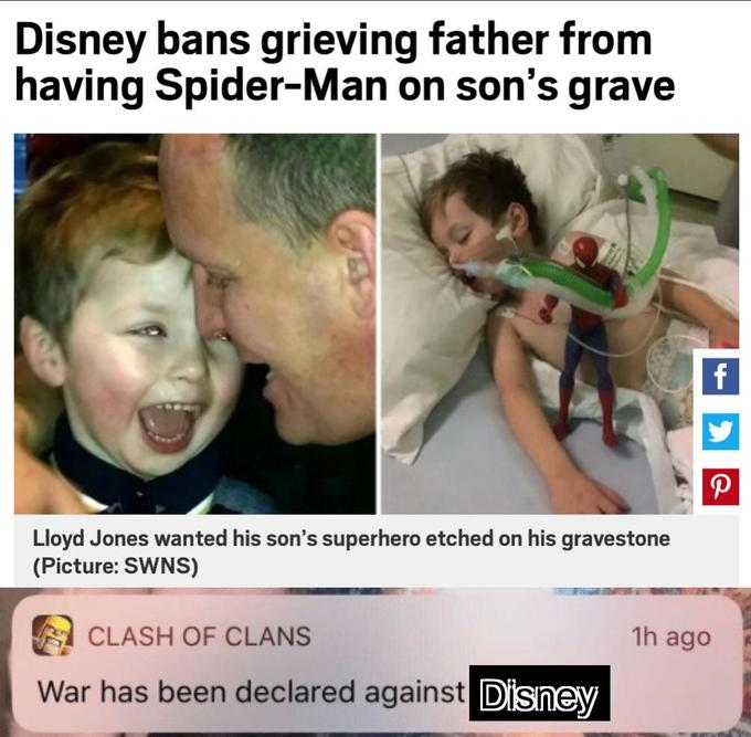 meme raging against disney for not allowing spiderman on a tomb stone