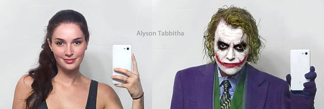 Alyson Tabbitha cosplaying as Heath Ledger's 'Joker' from the Dark Knight