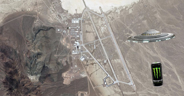 area 51 satellite image with a monster energy drink and a ufo