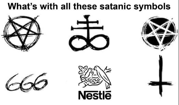 Evil Nestlé meme - What's with all these satanic symbols - 2019 Know Your meme