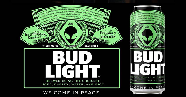 Bud Light free beer for the aliens can design