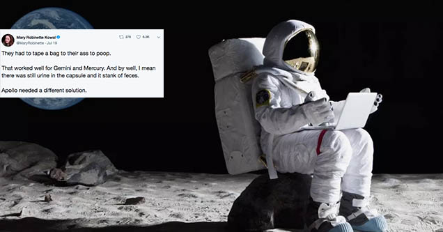 Mary Robinson Kowal tweet about pooping in space with a picture of an astronaut sitting down.