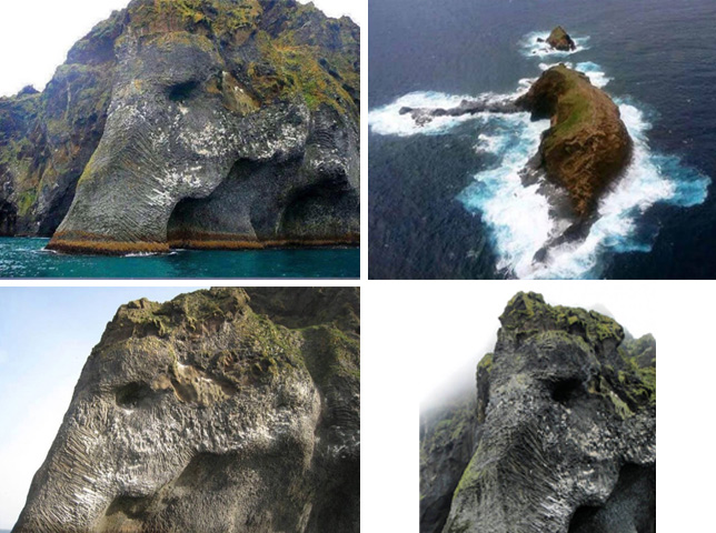 Elephant Rock island, located in Iceland.  It is amazing how much like an elephant this island looks like.