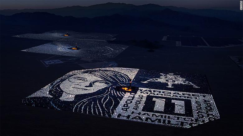 Google created a portrait of Apollo 11 pioneer Margaret Hamilton by reflecting moonlight off of  107,000 solar panels.