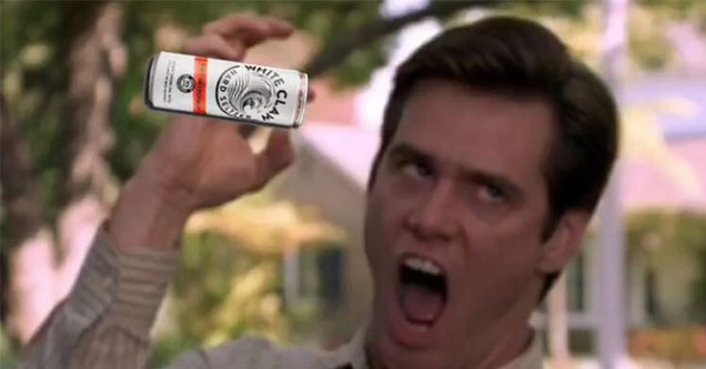 white claw meme - Jim Carrey screenshot from Liar Liar doing the claw and holding a white claw