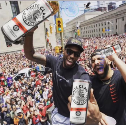 White Claw Meme - Drake and Kawhi celebrating the Tronoto Raptors NBA finals wins with white claws