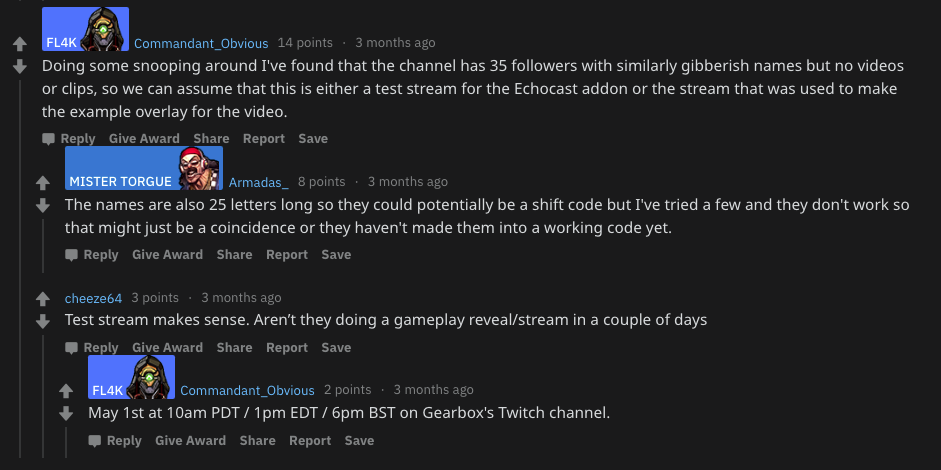 Comments from the Borderlands 3 subreddit determining that the video was a test for the echocast extension.