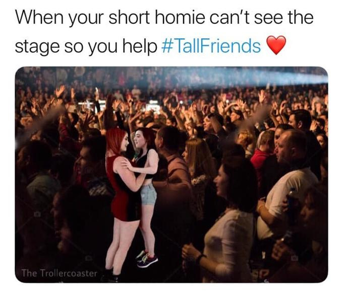 When your short homie can't see the stage so you help - porn meme