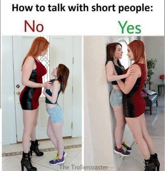 How to talk with short people meme - porn meme - lauren phillips