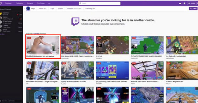 Twitch advertises Porn Streamers on Ninja's old Twitch Channel