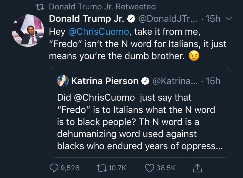 Donald Trump Jr tweets making fun of Chris Cuomo for being the dumb brother