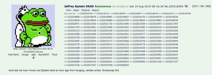 4Chan screenshot announcing epstein's death.