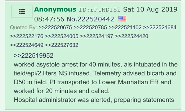 4chan post detailing how Jeffrey Epstein was attempted to be resuscitated.