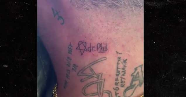 On Tuesday, he posted a video of himself getting Dr. Phil's name tatted on his neck, and thanked him for trying to get him help. This came after an intense session with Dr. Phil where Bam's wife Nikki and his mother confronted him about his substance abuse.