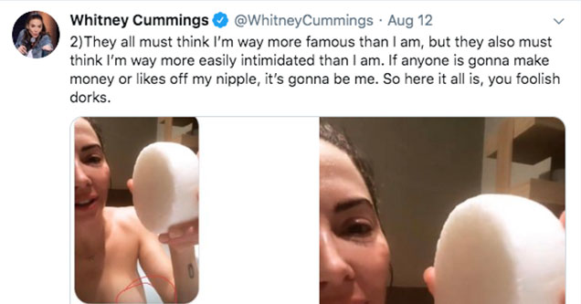 Comedian Whitney Cummings leaks her own nudes after trolls try to extort her