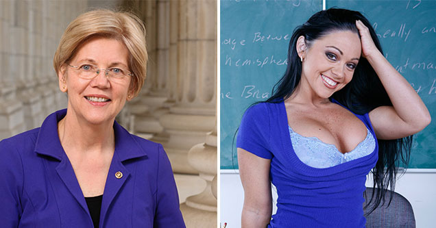 Democratic Candidates as Porn Stars -Elizabeth Warren as Cherokee