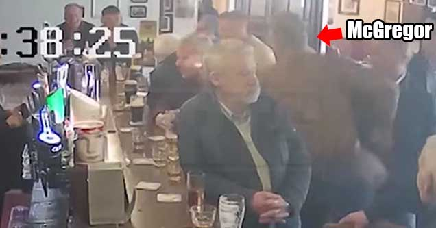 Former UFC champion Conor McGregor punches an old man in an Irish pub