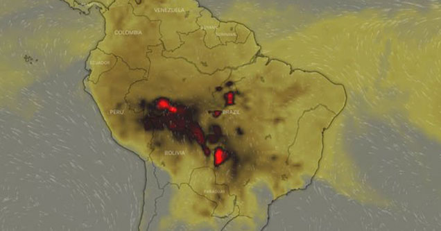 ndigenous Woman Claims The Amazon Rainforest Is Being Set On Fire - smoke map showing south America covered in smoke
