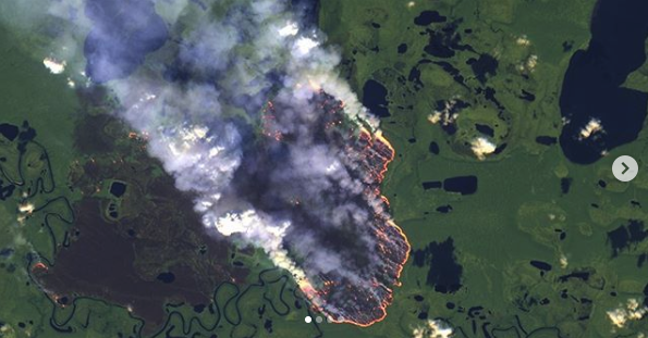 NASA image of the Amazon rainforest fires from space