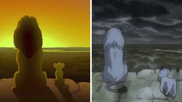 Side by side comparison of The Lion King and Kimba the white Lion, which Disney ripped off