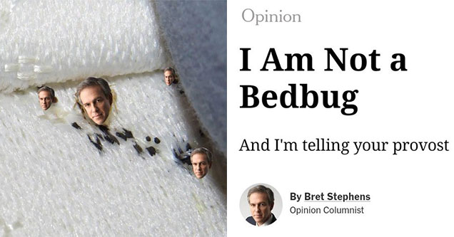 NYT Op-ed Writer Bret Stephens got called a bed bug on twitter - memes and tweets