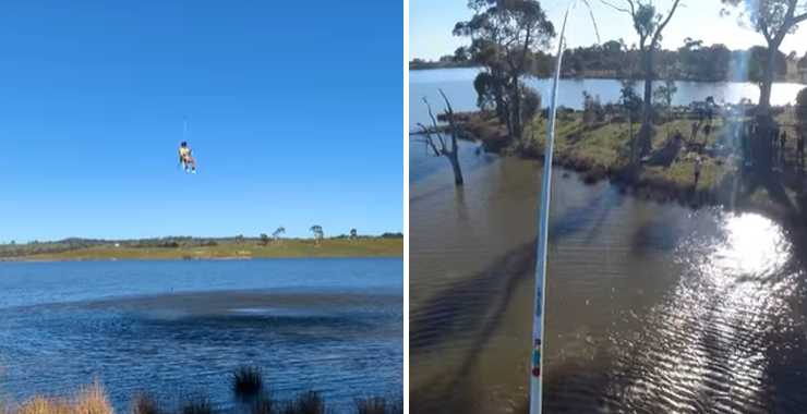 Currently CASA is trying to figure out if the man seen using a homemade drone to lift himself into the air,casting a line into a lake, and reeling in a fish is in breach of any aviation laws.   The Footage was uploaded to the